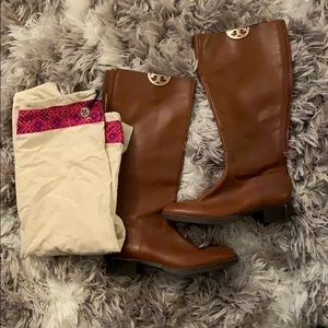 Tory Burch Camel Flat Boots Size 9